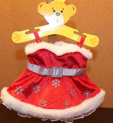 Build a Bear Red Mrs Claus Christmas Dress with Straps & Fur Trim