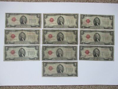 Lot Of (10) $2.00 Red Seal Us Notes -  1928 Series