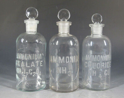 3 Antique Early 1900s Embossed Apothecary Pharmacy Chemical Glass Bottles #1 yqz