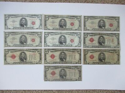 LOT OF (10) $5.00 RED SEAL US NOTES -  5 EACH: 1928 and 1963