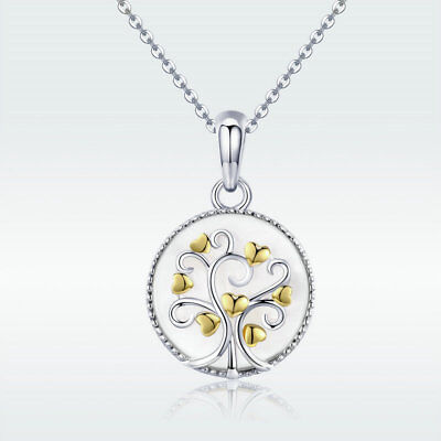 Christmas 925 Silver Tree of Life Gold Heart Pendant Necklaces for Women Fashion