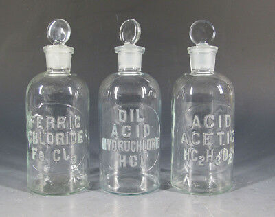3 Antique Early 1900s Embossed Apothecary Pharmacy Chemical Glass Bottles #3 yqz