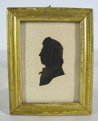 Antique c 1830 Cut Paste Silhouette Man Profile Left Folk Art Portrait #16 yqz