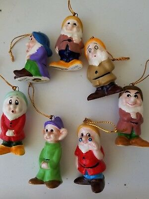 Disney Japan Christmas Snow White and Seven Dwarfs Porcelain Ornament Set