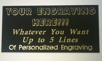 Engraved Black Brass Plate, pick size & wording, engraving plaque, award, trophy
