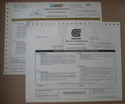 3 UNUSED NEW CAR PREP FORMS 1987 Shelby Lancer Whittier Factory Dodge Turbo T-II