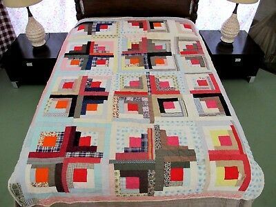 "RUSTIC Hand Pieced & Quilted All Cotton Some Feed Sack LOG CABIN Quilt 84"" x 64"""