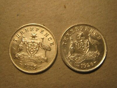 ERROR 1925 Threepence and high grade 1926 Threepence with 6 pearls