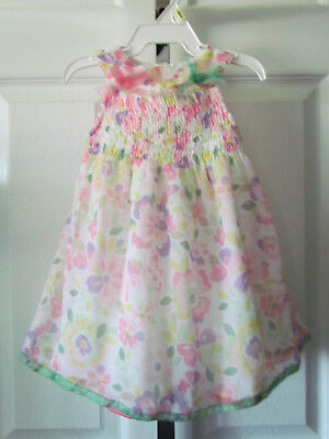4ae22ee63c8c First Impressions Adorable Pink Floral Smocked Baby Girl Dress Size 6 Months