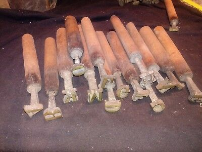 Antique Brass 72 Point Hand Gold Tooling Letter And Number Set