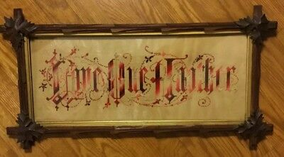 "Vintage Punch Paper Needlework ""Love One Another"" Framed Under Glass"