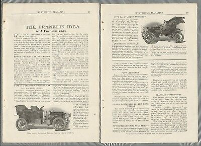 1906 FRANKLIN Automobile article, 4 pages, from 1906 magazine