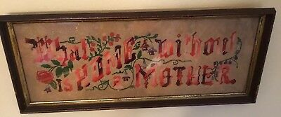 "Vintage Punch Paper Needlework ""What Is Home Without A Mother"" Framed W/ Glass"