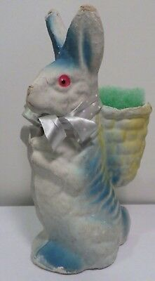 "Vintage Rabbit Candy Container Paper Mache 9"" Tall Bunny Easter Decoration"