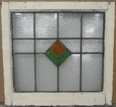 """OLD ENGLISH LEADED STAINED GLASS WINDOW Simple Geometric Design 21.5"""" x 20.25"""""""