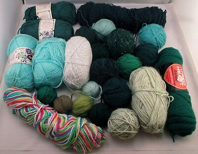 Assorted Worsted Weight Acrylic Skeins & Balls Yarn Lot in Greens & Multi
