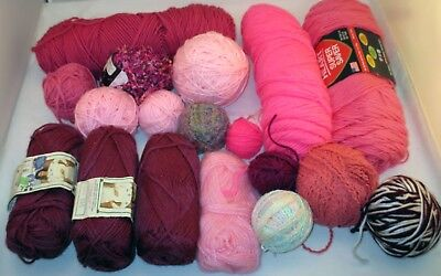 Assorted Worsted Weight Acrylic Skeins & Balls Yarn Lot in Pinks Mauves Roses