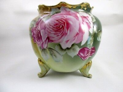 Antique NIPPON Footed Rose Bowl Hand Painted Pink Roses Gold Gilt
