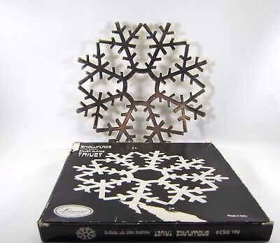 VTG LEONARD Silver Snowflake Silver Plated Trivet Hot Plate Made in Italy #9634
