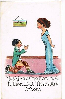 """ANTIQUE COMIC / ROMANCE Postcard    """"YES, YOU'RE ONE MAN IN A MILLION, BUT..."""""""