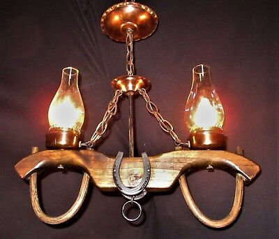 Vtg Gothic Revival Art Craft Wooden Wood Horse Horseshoe Chandelier Fixture