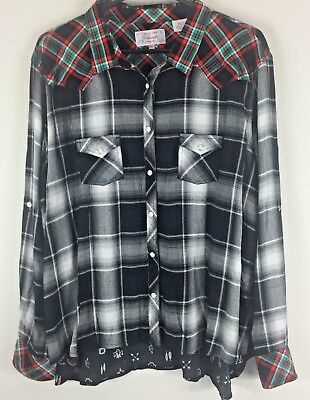 Vtg Men's 70s Panhandle Slim Fit Snap Button 100% Rayon Western Shirt XXL
