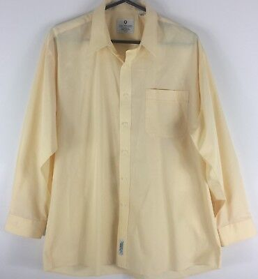 MENS YELLOW VTG 90s VAN HEUSEN L/S DeadStock Button Up DRESS SHIRT - 44cm