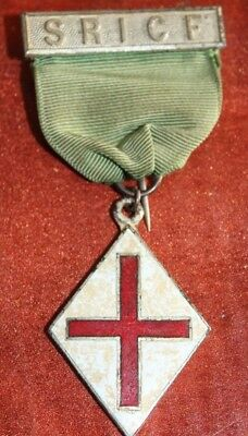 masonic medal pin sricf pin red cross enamel ribbon freemason masonic vintage