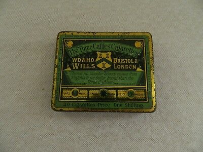 """OLD  WILLS  The """"Three  Caftles  Cigarette  Tin  - GOOD Cond"""