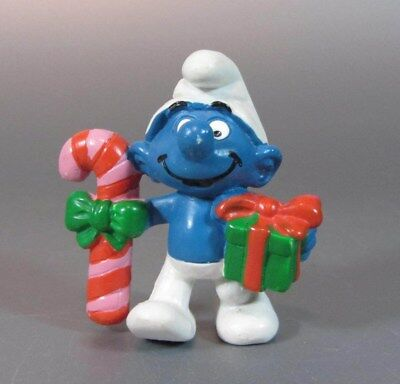 Vintage SMURF Schtroumpf with a Gift and Candycane Chritmas Portugal 1982