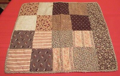 Antique 19thC Handmade Doll or Crib Quilt #2- Early Brown Fabrics