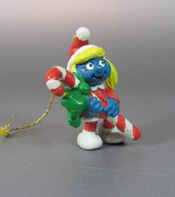Vintage SMURF Smurfette Schtroumpf with a Gift Candycane Chritmas Portugal 1982
