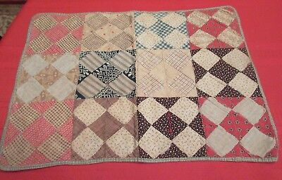 Antique 19thC Handmade Doll or Crib Quilt #4- Patchwork in Very Early Fabrics