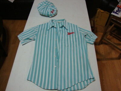 """RARE VINTAGE 40+ YEAR OLD """"WENDY'S"""" Hamburgers UNIFORM w/HAT Imperial USA Size S"""