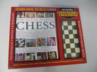 Classic Timber Chess Set & How To Play Chess Book New in Box by Hermes House