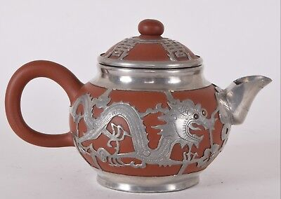 Chinese Red Yixing Pottery Teapot Pewter Dragon Shanghai