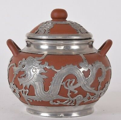 Chinese Red Yixing Pewter Overlay Sugar Bowl Dragon Chasing Flaming Pearl Signed