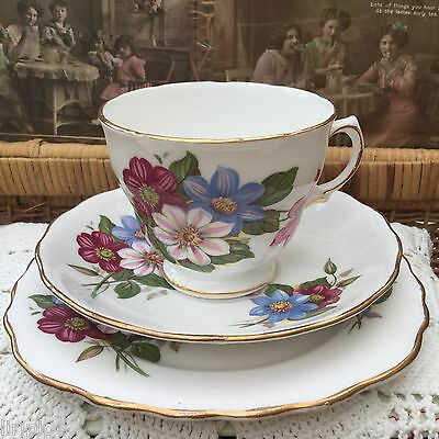 ROYAL VALE 1950s TRIO CUP SAUCER PLATE SET - FLORAL GILDED BONE CHINA
