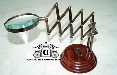 Collectibles Antique Vintage Desktop Magnifying Chainner Table Top Office Decor