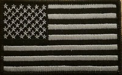 United States USA Flag Patch W/ VELCRO® Brand Fastener Tactical Gray & Black