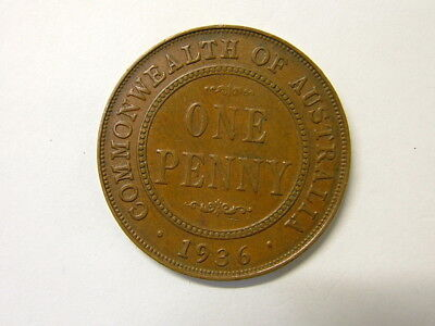 1936 Australia coin, penny, pre decimal, 4003 nice luster 6 pearls