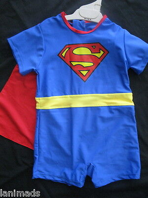 BNWT- suit approx age 2 yrs - Superman with Cape Size Boys Bathers Swimsuit