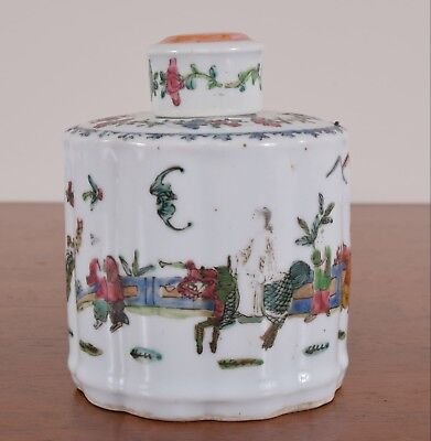 Antique Chinese Porcelain Tea Caddy Ribbed Body Enamel Decoration Qing