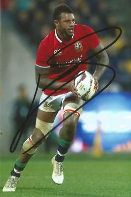 BRITISH LIONS & ENGLAND RUGBY UNION: COURTNEY LAWES SIGNED 6x4 ACTION PHOTO+COA