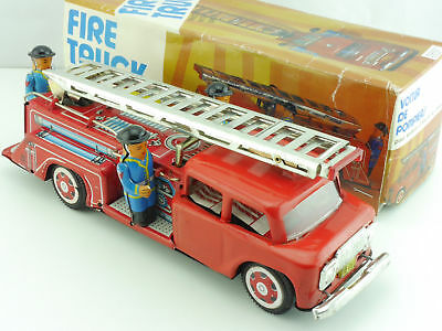 China MF 718 Tin Toy Blech Feuerwehr Fire Engine defekt OVP 1605-05-21