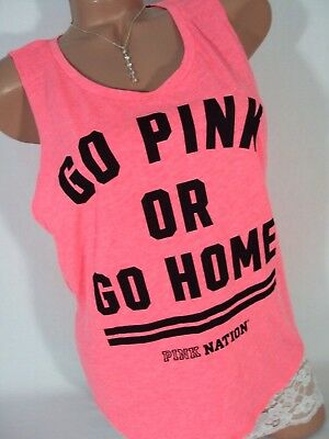 Victorias Secret PINK Nation Womens Tank Top T Shirt Small Bright Coral