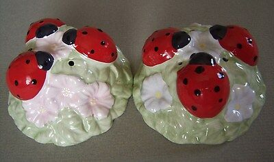 LENOX Butterfly Meadow Ladybug Ceramic Salt and Pepper Shakers NEW