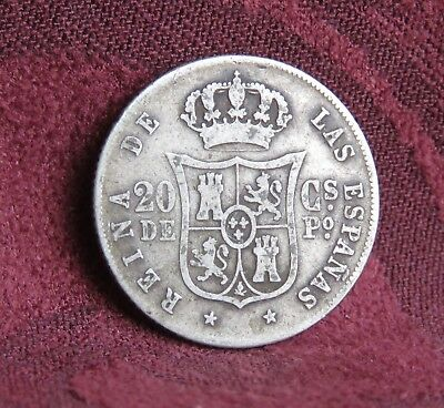 1865 Philippines Spain 20 Centimos Silver World Coin Isabella II Colonial RARE