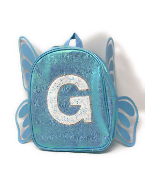 """Justice Girls Cute Blue Butterfly Wings Initial """"G"""" Mini Backpack NWT! Holidays"""