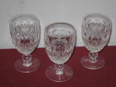 "Waterford Crystal  ""colleen""  Claret Wine Glasses  --  3"